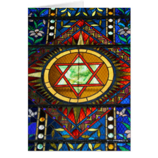 Carte de voeux d'étoile de David en verre souillé