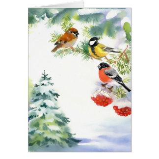 Carte de voeux d'oiseaux d'hiver d'aquarelle