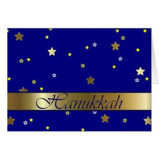 Carte de voeux d'or juive d'étoiles bleues de