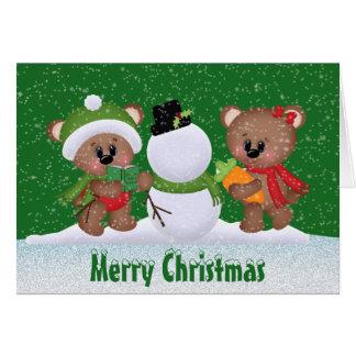 Carte de voeux d'ours de meilleurs amis de Noël