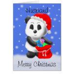 Carte de voeux d'ours panda de Noël