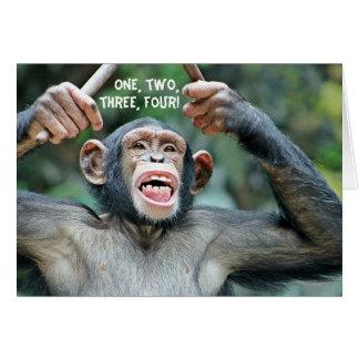 Carte de voeux drôle de compte du chimpanzé quatre