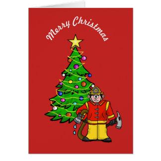 Carte de voeux drôle de Noël de pompier