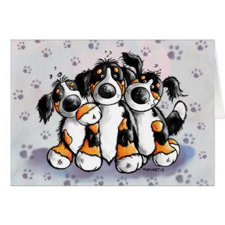 Carte de voeux drôle de trois de Bernese chiens de