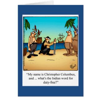 Carte de voeux drôle d'humour de jour de Columbus