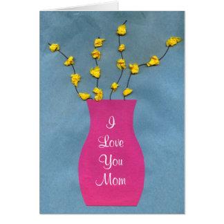 Carte de voeux du jour de mère de métier de vase à