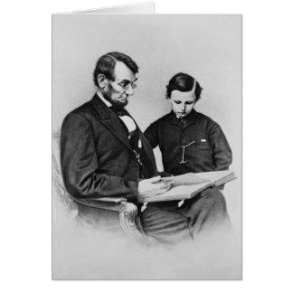Carte de voeux du Président Lincoln - lecture avec
