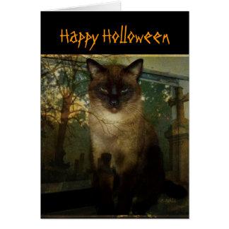 Carte de voeux éffrayante de Halloween de chat