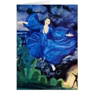 Carte de voeux féerique bleue