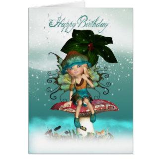 Carte de voeux féerique d'anniversaire d'Elf