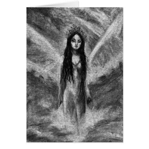 Carte de voeux féerique d'art d'Orig d'ange foncé