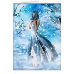 Carte de voeux féerique de neige