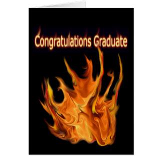 Carte de voeux flamboyante d'obtention du diplôme