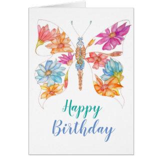 Carte de voeux florale d'anniversaire de papillon