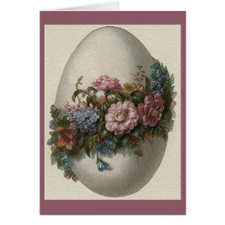 Carte de voeux florale fleurie vintage d'oeuf de