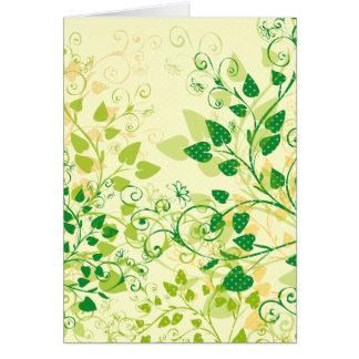 Carte de voeux florale verte de ressort