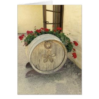 Carte de voeux fraîche de fleur de baril de vin !