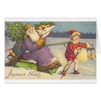 Carte de voeux française vintage de Noël