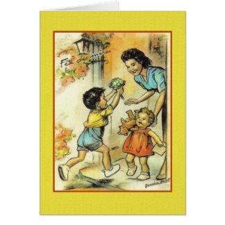 Carte de voeux française vintage du jour de mère