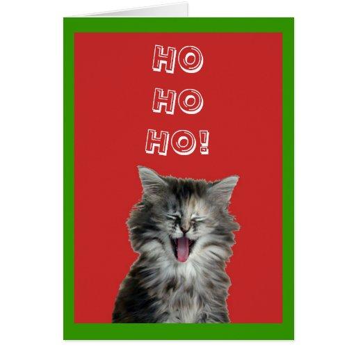 Carte de voeux gaie de chaton de Noël