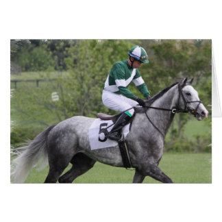 Carte de voeux grise tachetée de cheval de course