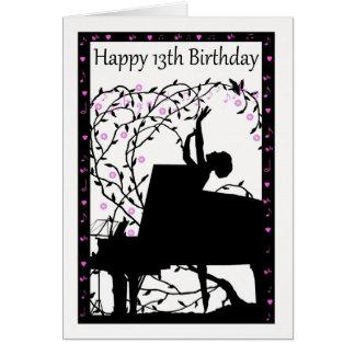 Carte de voeux heureuse d'anniversaire de piano
