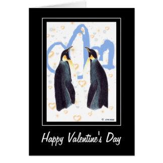 Carte de voeux heureuse des pingouins de Valentine
