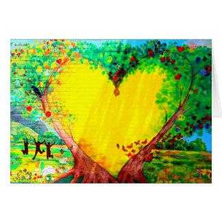 carte de voeux jaune de coeur
