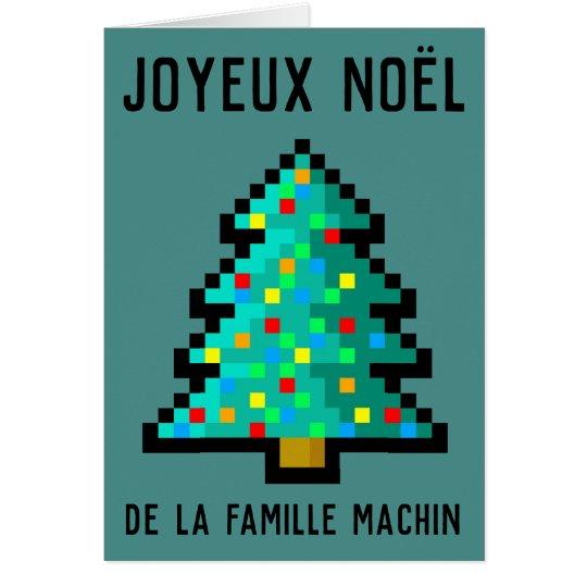 Carte de vœux Joyeux Noël - pixel art sapin 8 bit