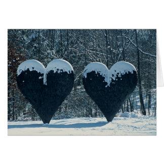 Carte de voeux jumelle de coeurs