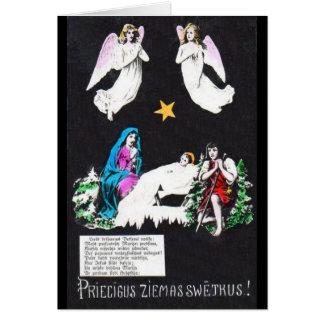 Carte de voeux letton religieuse vintage de Noël
