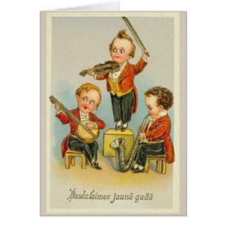 Carte de voeux letton vintage de bonne année