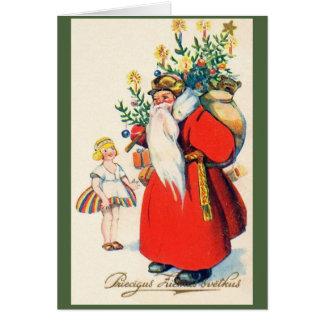 Carte de voeux letton vintage de Noël