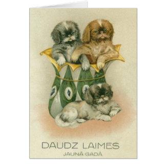 Carte de voeux letton vintage de nouvelle année de