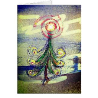 Carte de voeux magique d'arbre de Noël de remous