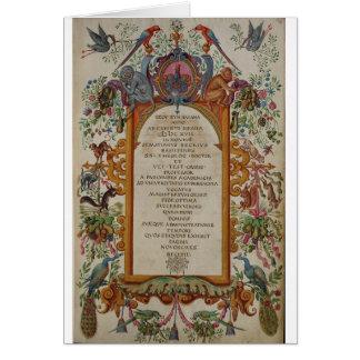 Carte de voeux médiévale d'immatriculation d'obten