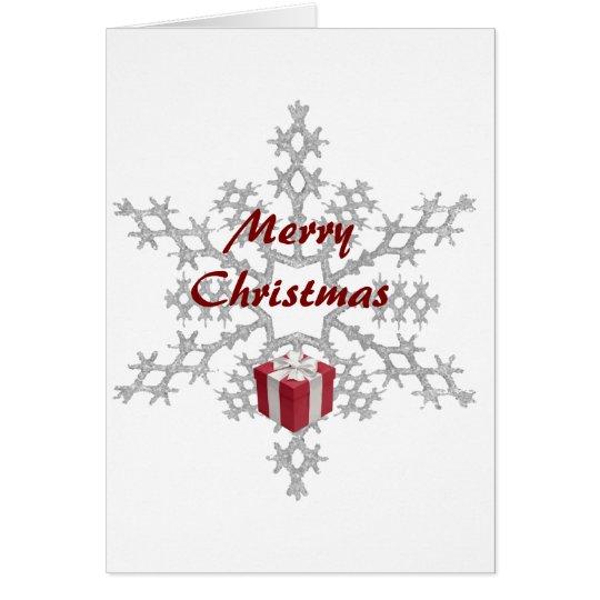 """Carte de voeux """"Merry Christmas"""", flocon et cadeau"""