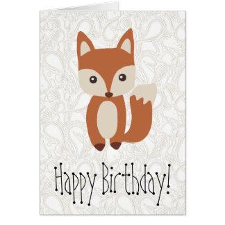 Carte de voeux mignonne d'anniversaire de Fox de