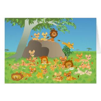 Carte de voeux mignonne de famille de lion de