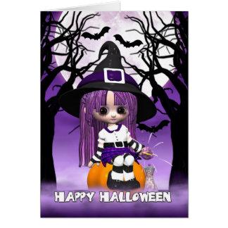 Carte de voeux mignonne de Halloween de sorcière