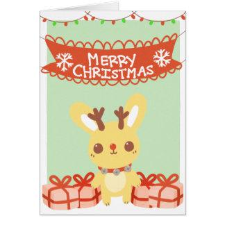Carte de voeux mignonne de Noël de lapin