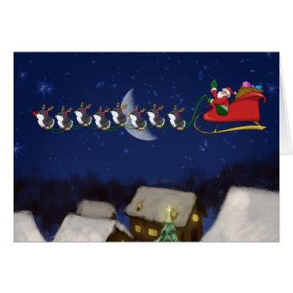 Carte de voeux minuscule de huit pingouins