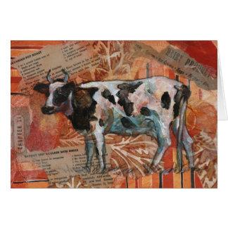 Carte de voeux noire et blanche de vache