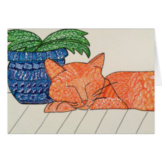Carte de voeux orange de chat
