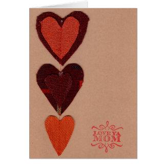 Carte de voeux orange de coeurs