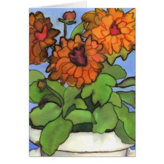 Carte de voeux orange de dahlia