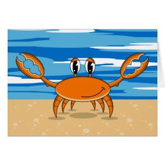 Carte de voeux orange mignonne de crabe