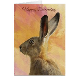 Carte de voeux peinte d'anniversaire de lièvres