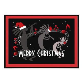 Carte de voeux plate de Noël de Kokopelli Carton D'invitation 12,7 Cm X 17,78 Cm