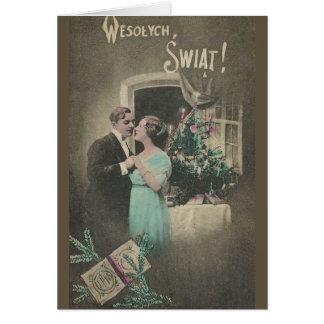 Carte de voeux polonaise de Noël de cru